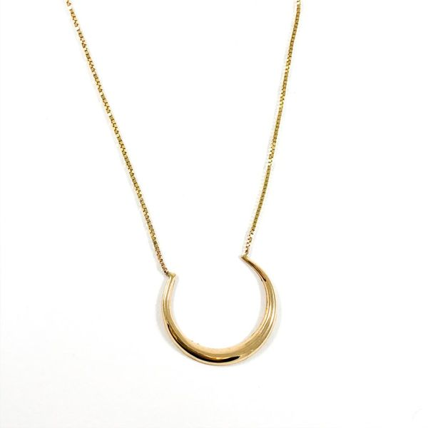 Yellow Gold Crescent Necklace - 17