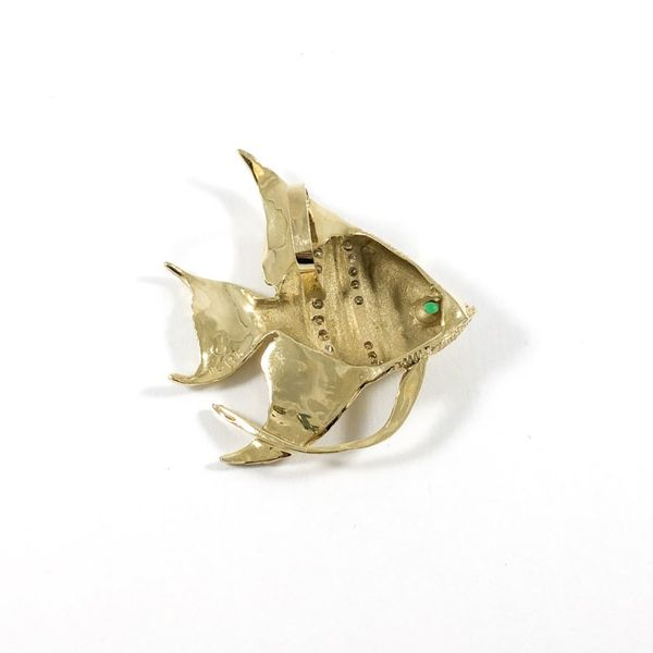 Angel Fish Diamond, Emerald, and Yellow Gold Pendant Image 2 Lumina Gem Wilmington, NC