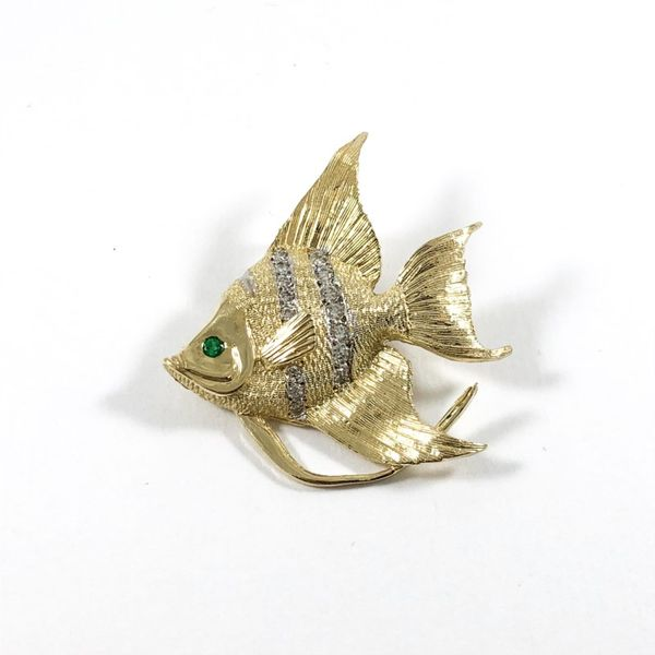Angel Fish Diamond, Emerald, and Yellow Gold Pendant Lumina Gem Wilmington, NC