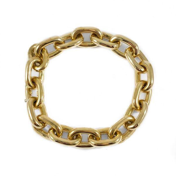 Yellow Gold Hollow Link Bracelet - 8.5