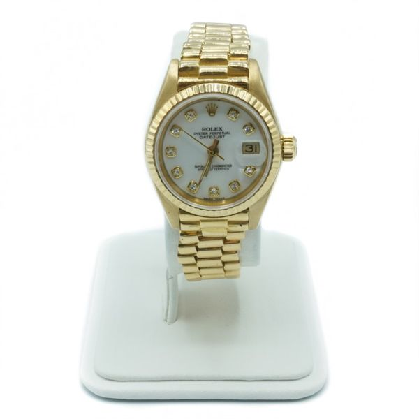Rolex President Watch with White and Diamond Dial - 18k Yellow Gold - Circa 1984 Lumina Gem Wilmington, NC