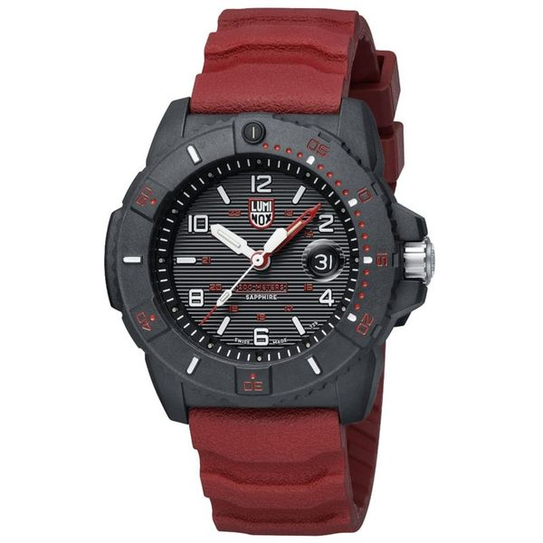 Luminox Navy SEAL Watch - Black Carbonox Case and Sapphire Crystal with Red PU Strap Image 2 Lumina Gem Wilmington, NC
