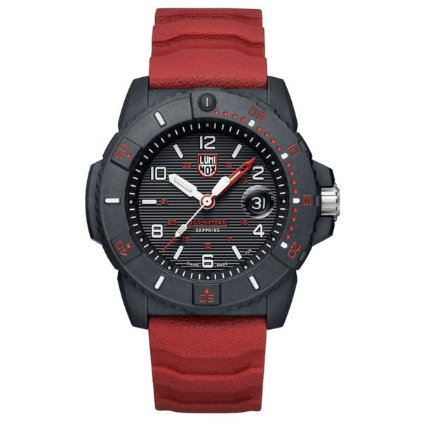 Luminox Navy SEAL Watch - Black Carbonox Case and Sapphire Crystal with Red PU Strap Lumina Gem Wilmington, NC