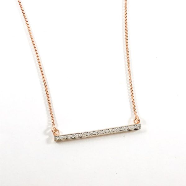 Charles Garnier Rose Gold Plated CZ Bar Necklace - 17