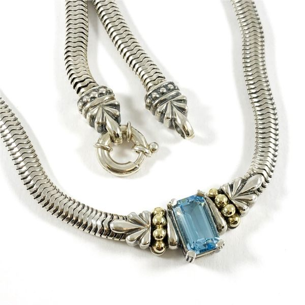 Lagos Caviar Blue Topaz Necklace Image 2 Lumina Gem Wilmington, NC