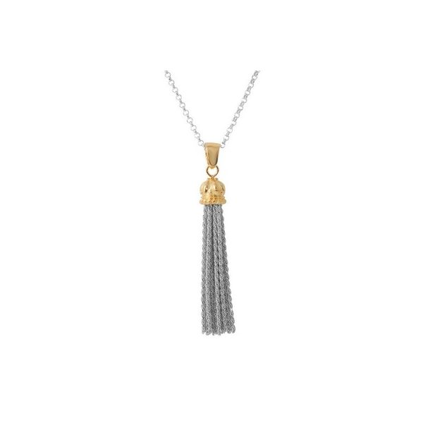 Charles Garnier Sterling Silver and Yellow Gold Vermeil Tassel Necklace - 17