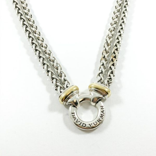 David Yurman Double Strand Two Tone Chain with Circle Pendant - 17