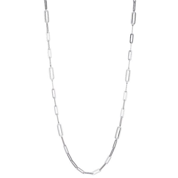 Charles Garnier Sterling Silver Link Necklace with CZ Station Links - 36