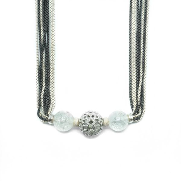 David Yurman Sterling Silver and Black Rhodium Multi Strand Necklace with Crystal and Diamond Accented Beads - 41