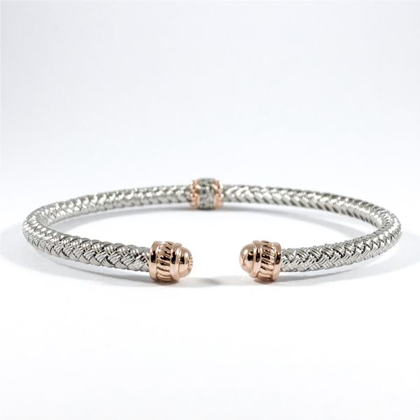 Charles Garnier Silver and Rose Gold Plated CZ Cuff Image 2 Lumina Gem Wilmington, NC