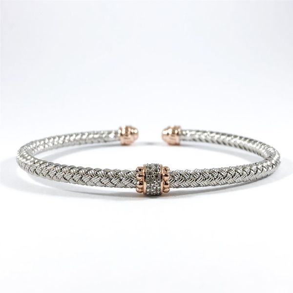 Charles Garnier Silver and Rose Gold Plated CZ Cuff Lumina Gem Wilmington, NC