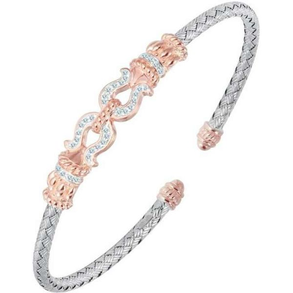Charles Garnier Sterling Silver, Rose Gold Vermeil, and CZ Cuff Lumina Gem Wilmington, NC