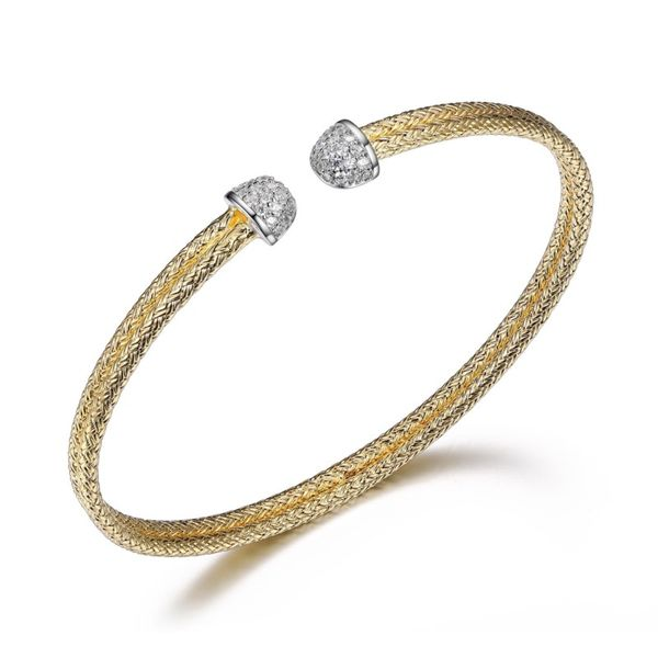 Charles Garnier Gold Plated Double Row Cuff with CZ End Caps Lumina Gem Wilmington, NC