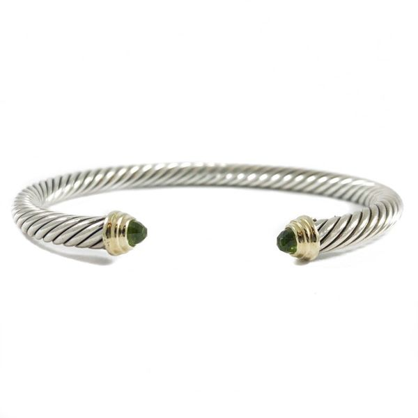 David Yurman 5mm Cuff with Peridot and Yellow Gold End Caps Lumina Gem Wilmington, NC