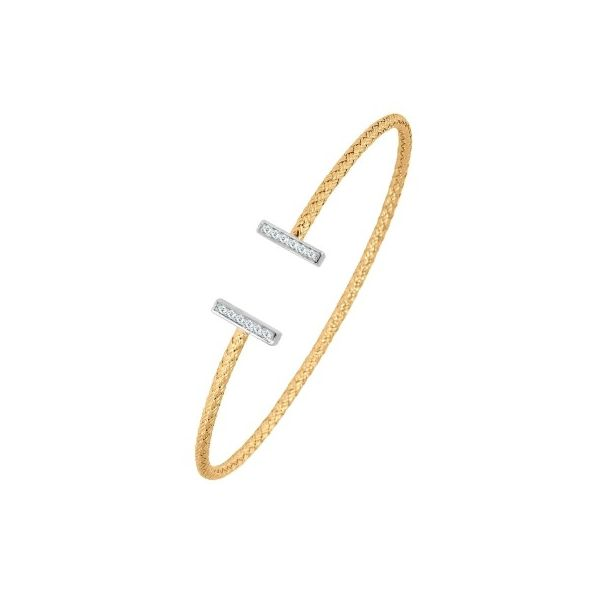 Charles Garnier 2mm Cuff with CZ end Caps - Yellow Gold Finish Lumina Gem Wilmington, NC