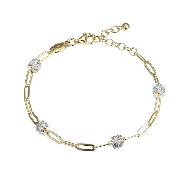 Charles Garnier Paperclip Bracelet with CZ Stations- Yellow Gold Finish Lumina Gem Wilmington, NC