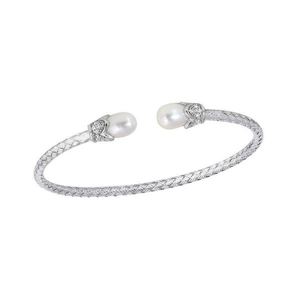 Charles Garnier 3mm Cuff with Freshwater Pearl and CZ End Caps Lumina Gem Wilmington, NC