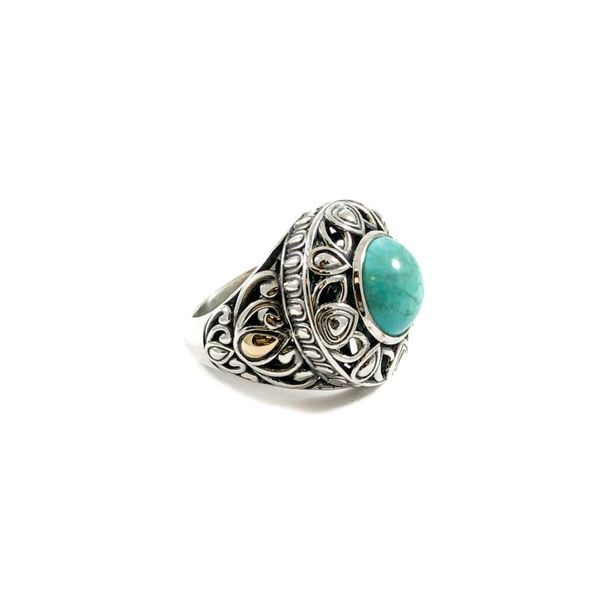 Angela by John Hardy Turquoise Ring - Sterling Silver and Yellow Gold Image 2 Lumina Gem Wilmington, NC