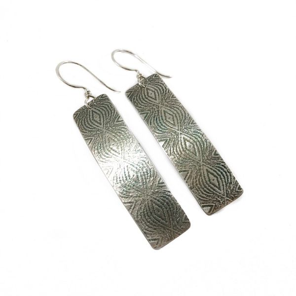 The Elk and Owl Sterling Silver Imprinted Rectangular Earrings Lumina Gem Wilmington, NC