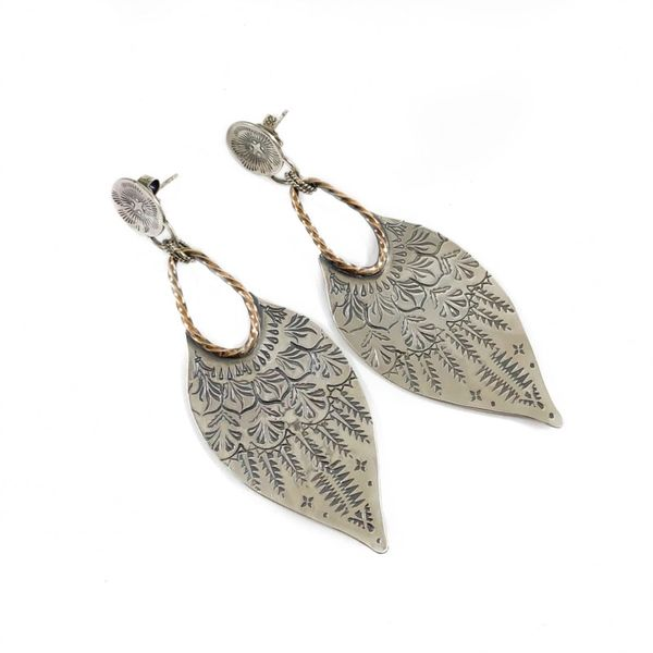 The Elk and Owl Sterling Silver Berkat Earrings with Bronze Accents Lumina Gem Wilmington, NC
