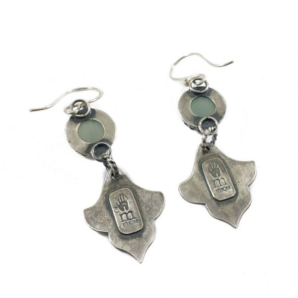 The Elk and Owl Sterling Silver Earrings with Chalcedony Stones Image 2 Lumina Gem Wilmington, NC