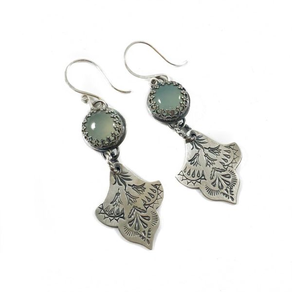 The Elk and Owl Sterling Silver Earrings with Chalcedony Stones Lumina Gem Wilmington, NC