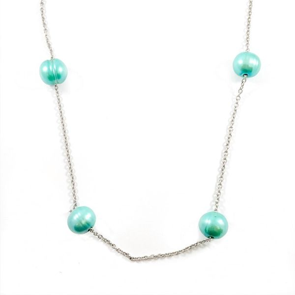 Honora Pearl Greenish Blue Station Necklace - 20