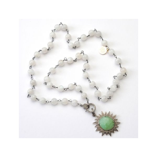 Wendy Perry Designs Moonstone, Chryophrase, and Diamonds Ipanema Necklace - Oxidized Sterling Silver - 31