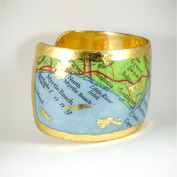 Evocateur Custom Cuff Featuring Map of Wilmington - 22k Yellow Gold Image 2 Lumina Gem Wilmington, NC