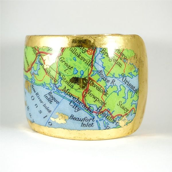 Evocateur Custom Cuff Featuring Map of Wilmington - 22k Yellow Gold Image 3 Lumina Gem Wilmington, NC