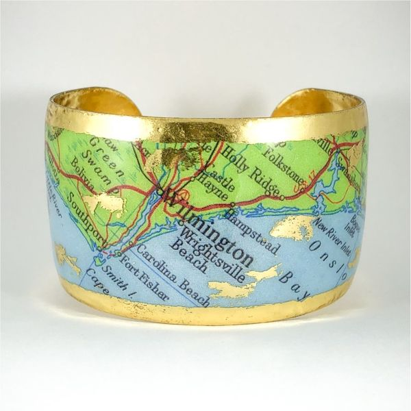 Evocateur Custom Cuff Featuring Map of Wilmington - 22k Yellow Gold Lumina Gem Wilmington, NC