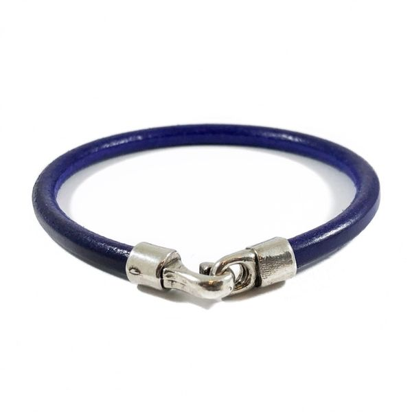 Blue Leather Bracelet - Stainless Clasp - 8.25