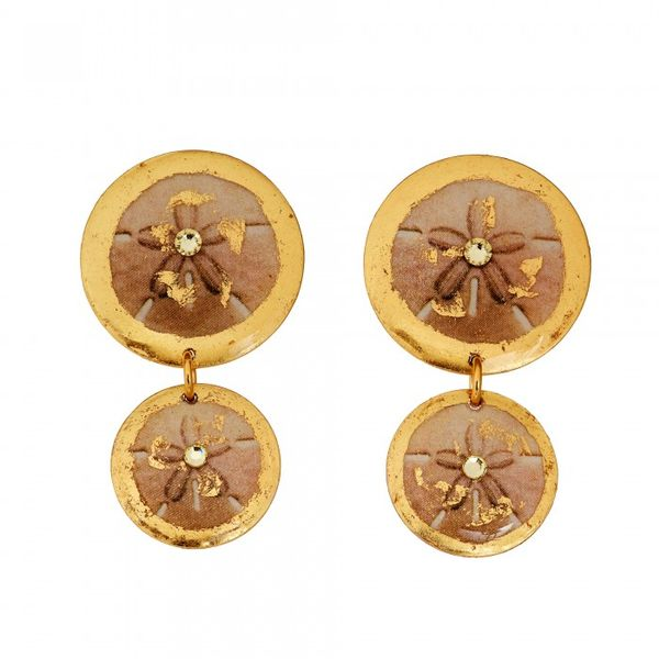 Evocateur Sand Dollar Double Drop Earrings Lumina Gem Wilmington, NC