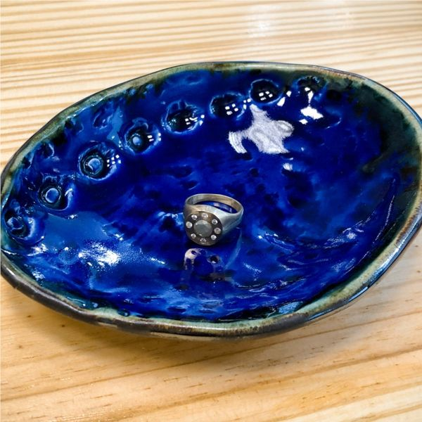 Blue Space Pottery Cobalt Abalone Ring Dish Image 2 Lumina Gem Wilmington, NC
