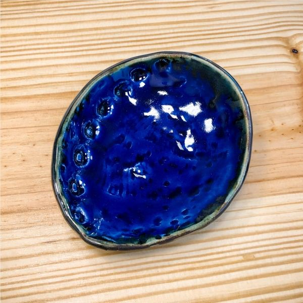 Blue Space Pottery Cobalt Abalone Ring Dish Lumina Gem Wilmington, NC