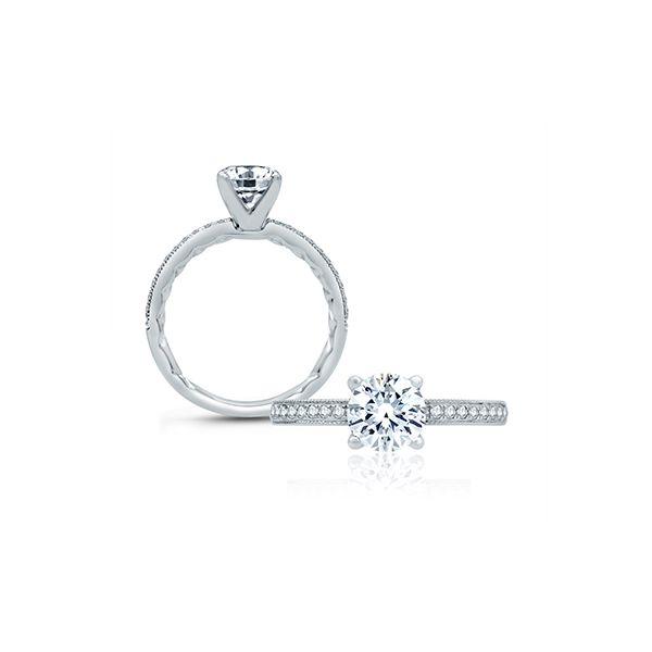 Classic Four Prong Modern Vintage Engagement Ring Image 3  ,