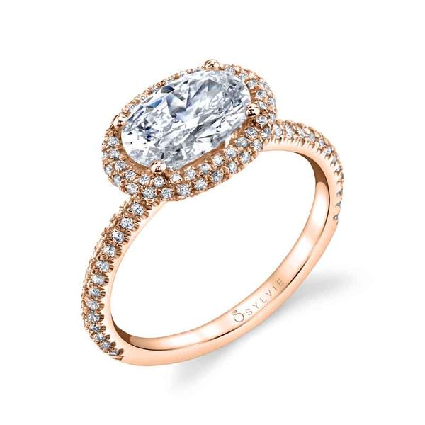 VALERE – OVAL SHAPED EAST TO WEST HALO ENGAGEMENT RING Image 3  ,