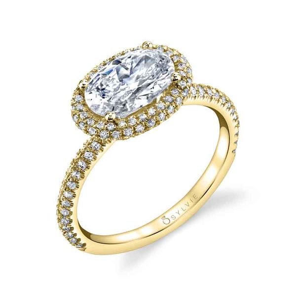 VALERE – OVAL SHAPED EAST TO WEST HALO ENGAGEMENT RING Image 4  ,