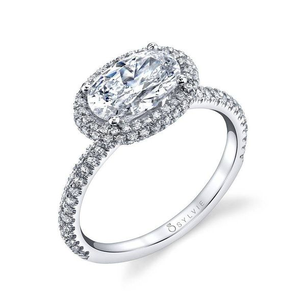 VALERE – OVAL SHAPED EAST TO WEST HALO ENGAGEMENT RING Mark Allen Jewelers Santa Rosa, CA