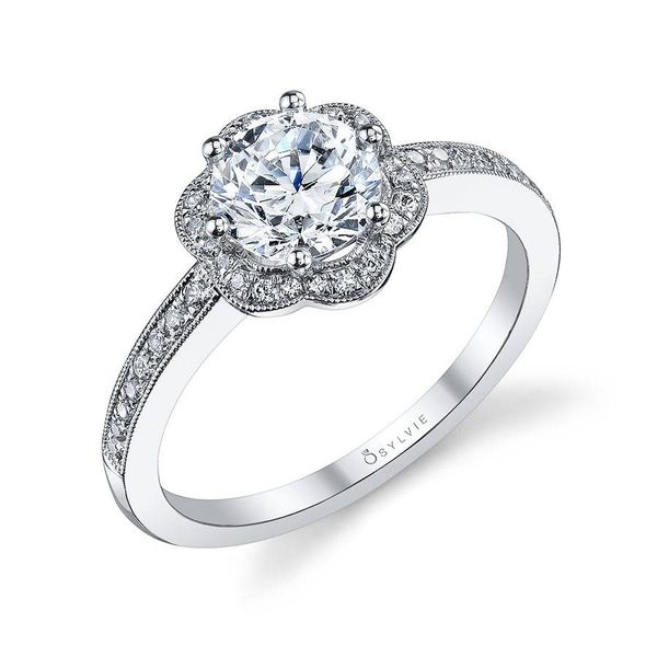LILIANE – GLAMOROUS FLORAL HALO ENGAGEMENT RING Mark Allen Jewelers Santa Rosa, CA