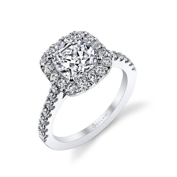 JACALYN – TWO TONE CUSHION HALO ENGAGEMENT RING Image 2  ,