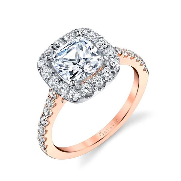 JACALYN – TWO TONE CUSHION HALO ENGAGEMENT RING Mark Allen Jewelers Santa Rosa, CA