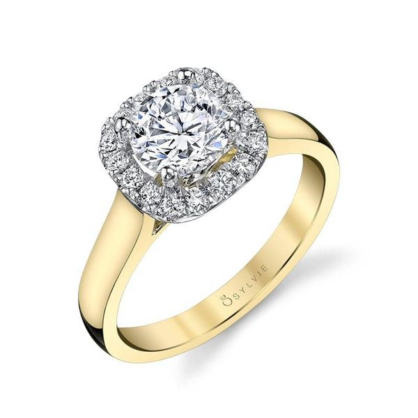 THERESE – TWO TONE CUSHION HALO ENGAGEMENT RING Mark Allen Jewelers Santa Rosa, CA
