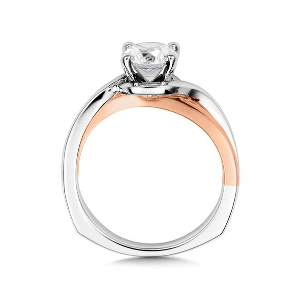 Solitaire Engagement Ring Mounting in 14K White & Rose Gold Image 2 Mark Allen Jewelers Santa Rosa, CA
