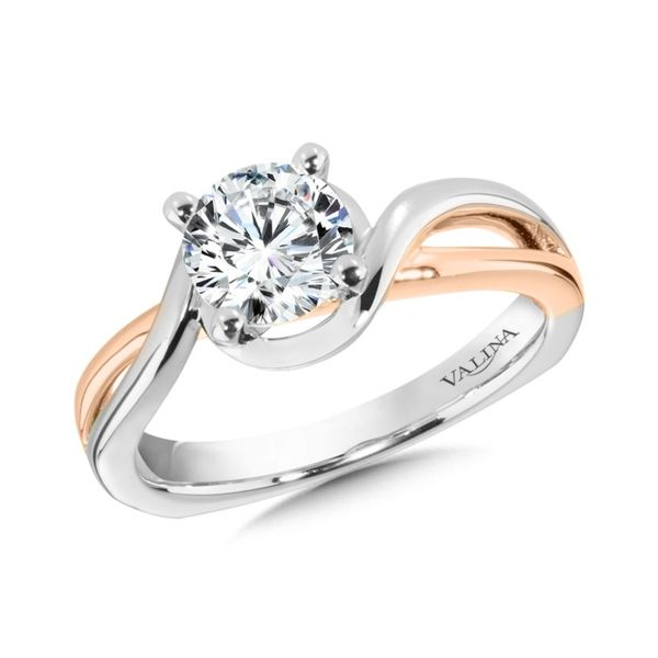 Solitaire Engagement Ring Mounting in 14K White & Rose Gold Mark Allen Jewelers Santa Rosa, CA