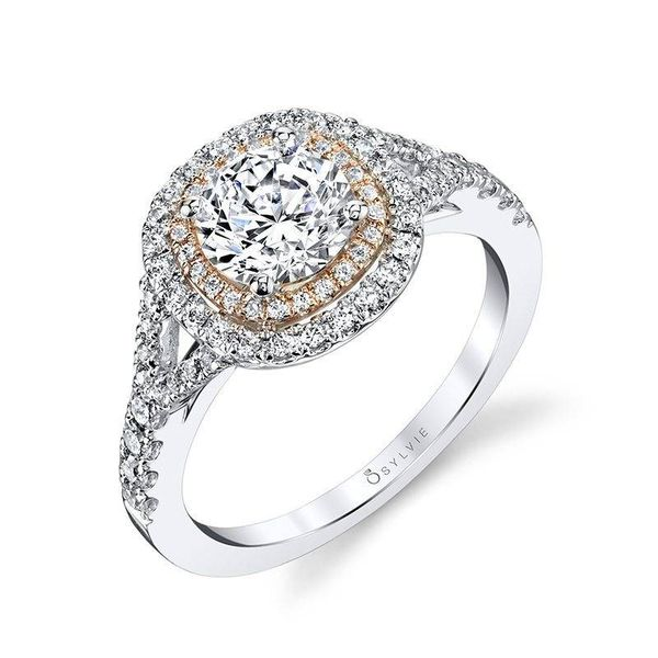 ROSE – CUSHION SHAPED DOUBLE HALO ENGAGEMENT RING Image 3 Mark Allen Jewelers Santa Rosa, CA