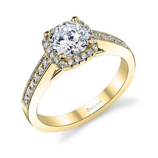 ELAYNA - VINTAGE INSPIRED ROUND ENGAGEMENT RING WITH CUSHION HALO Image 3 Mark Allen Jewelers Santa Rosa, CA