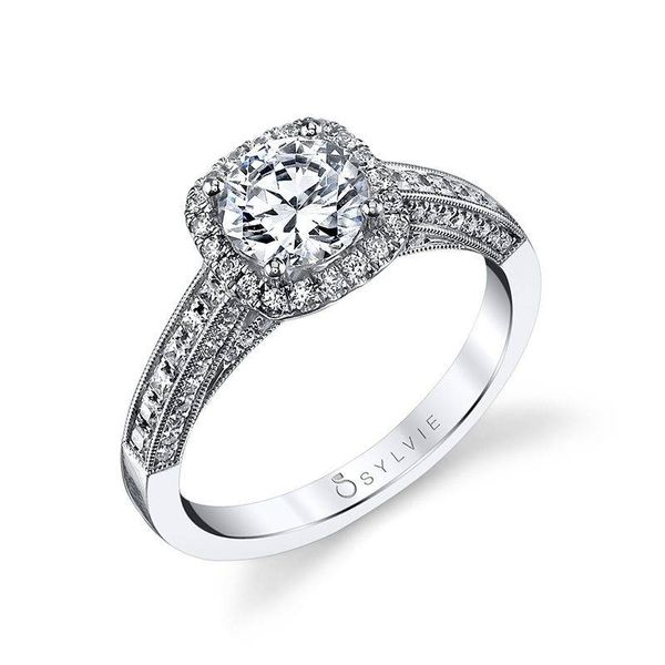 ELAYNA - VINTAGE INSPIRED ROUND ENGAGEMENT RING WITH CUSHION HALO Mark Allen Jewelers Santa Rosa, CA