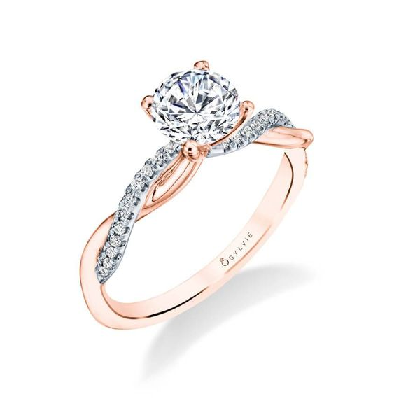 YASMINE - HIGH POLISH SPIRAL ENGAGEMENT RING IN ROSE GOLD Mark Allen Jewelers Santa Rosa, CA