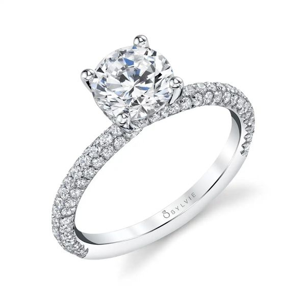 JAYLA - SOLITAIRE ENGAGEMENT RING WITH PAVE DIAMONDS Mark Allen Jewelers Santa Rosa, CA